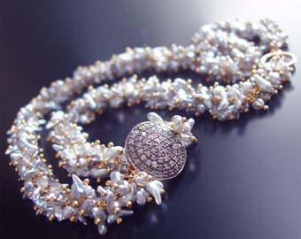 CUSTOM Made to Order - 14k Japanese Saltwater Keishi Pearl Necklace with Pave Diamond Accent