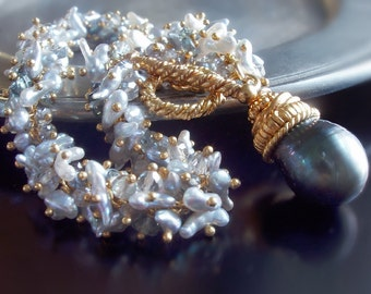 Custom Made to Order - Japanese Saltwater Keishi, South Sea Pearl, Mystic Topaz, and Sapphire Bracelet