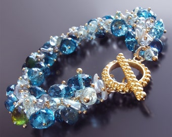 London Blue Topaz and 18k Gold Bracelet with Aquamarine, Sapphire, and Japanese Saltwater Keishi Pearls