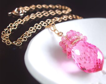 Hot Pink Topaz and Pink Sapphire Gemstone Necklace