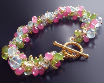 Candy Pink Sapphire Bracelet with Green Garnet, Aquamarine, and Morganite