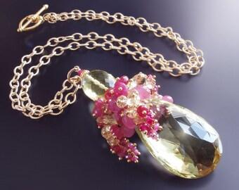 Custom Made to Order - Lemon Quartz Necklace with Corundum, Sapphire, Tourmaline, and Citrine