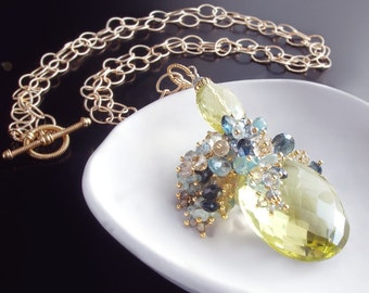 Custom Made to Order - Lemon Quartz Necklace with Zircon, sapphire, aquamarine, citrine, and Swiss blue topaz