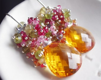 Custom Made to Order - Golden Citrine Earrings with Pink Torumaline, Green Garnet, Tananite, and Sapphire