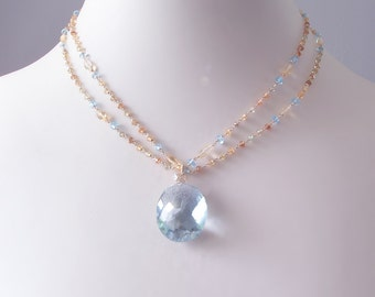 CUSTOM Made to Order - Blue Topaz Necklace with Songea Sapphires, Citrine, and a Japanese Saltwater Keishi Pearl