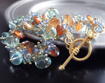 Custom Made to Order - Green Amethyst Bracelet with Sapphire and Hessonite Garnet