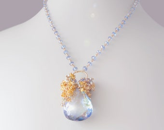 Custom Made to Order - Yellow Sapphire Necklace with Pyrite, Blue Quartz, and Topaz