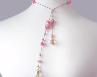 Custom Made to Order - Pink Sapphire Lariat with Golden Rutilated Quartz and Champagne Zircon