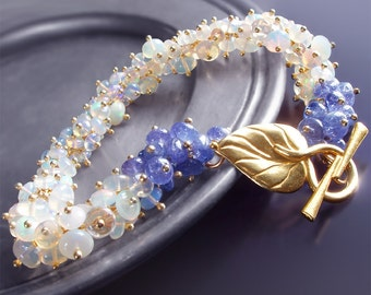 Custom Made to Order - Opal and Tanzanite Bracelet - Frozen Iris