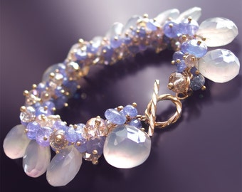 Custom Made to Order - Tanzanite Bracelet with Champagne Zircon and Chalcedony