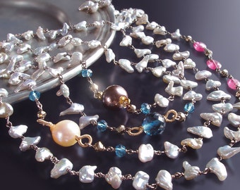 CUSTOM Made to Order - Long Japanese Saltwater Keishi Pearl Necklace with London Blue Topaz, Hot Pink Sapphire, and Pyrite