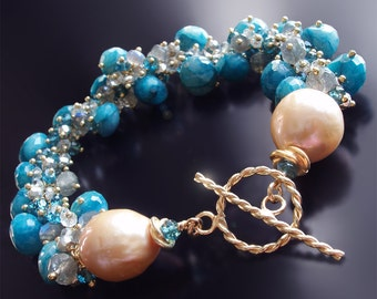 Custom Made to Order - London Blue Topaz Bracelet with Chrysocolla, Labradorite, White Topaz, and Silver Pyrite