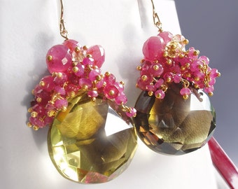 14k Solid Gold Hot Pink Tourmaline Earrings with Sapphires, Bi-color Quartz and Citrine