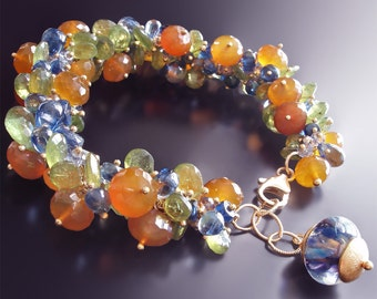 Sapphire Bracelet with Peach Moonstone, Green Garnet, Kyanite, and Pyrite