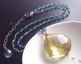 Custom Made to Order - Large Lemon Quartz Necklace with London Blue Topaz