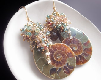 Custom Made to Order - Ammonite Fossil Earrings with Sapphires, Andalusite, Zircon, and Smoky Quartz