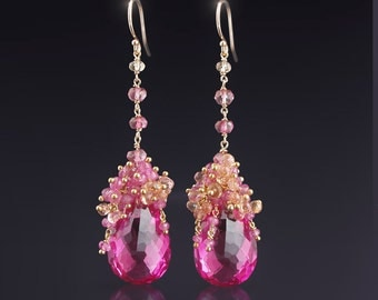 CUSTOM Made to Order - 14k Solid Gold Earrings with Hot Pink Topaz, Orchid Pink Sapphires, and Imperial Topaz