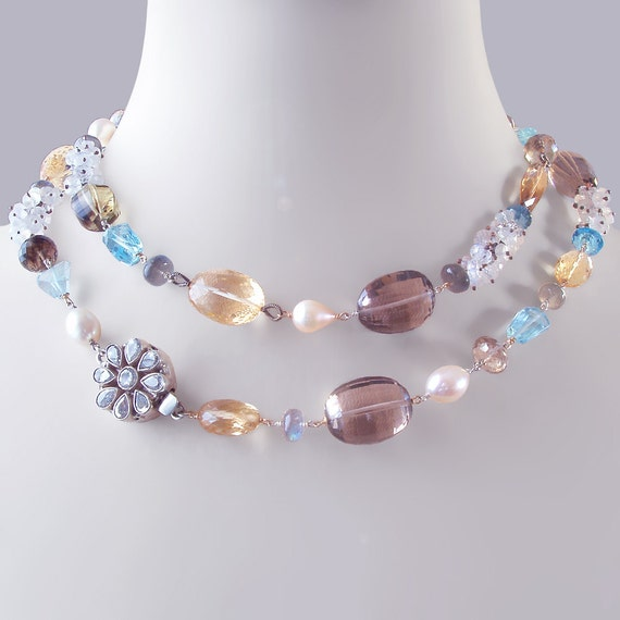 Custom Made to Order - Statement Necklace with Citrine, Moonstone, Labradorite, and Pearls, and Ornate Box Clasp