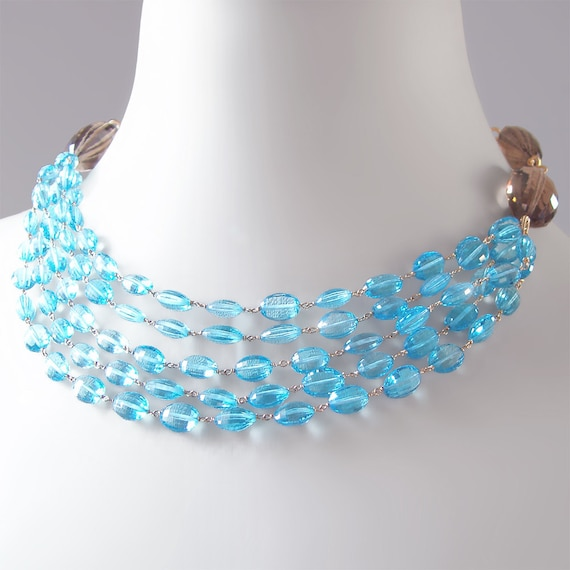 RESERVED - Statement, Bib Necklace with Swiss Blue Topaz, Smoky Quartz, and Pearl