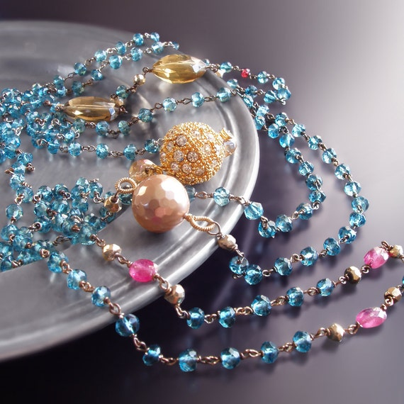 CUSTOM Made to Order - Long Flapper Necklace with London Blue Topaz, Hot Pink Sapphires, Whiskey Quartz, and Mother of Pearl
