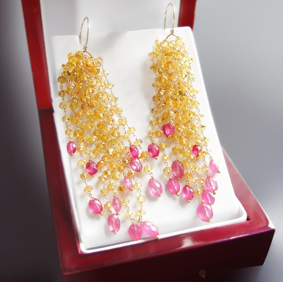 Yellow and Hot Pink Sapphire Dangle Earrings - CUSTOM Made to Order Just for You