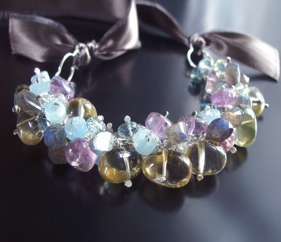 Statement Bib Necklace with Amethyst, Labradorite, Aquamarine, and Vintage Silk Ribbon