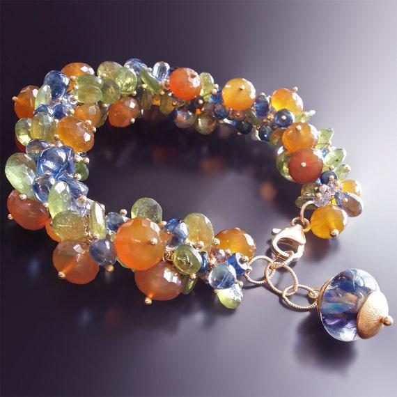 Sapphire Bracelet with Peach Moonstone, Green Garnet, Kyanite, and Pyrite