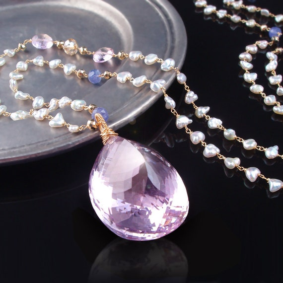 CUSTOM Made to Order - Enormous, Natural Pink Amethyst Necklace with Akoya Saltwater Keishi Pearls, Tanzanite, and Pyrite