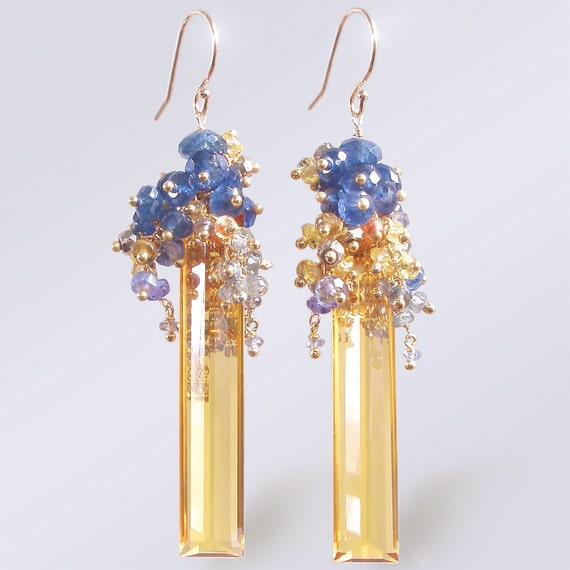 Custom Made to Order - 14k Citrine Baguette Earrings with Sapphires, Pyrite, and Tanzanite