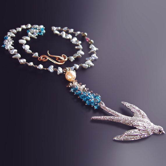 RESERVED - Vintage Sparrow Necklace with Japanese Saltwater Keishi Pearls, London Blue Topaz, Pink Sapphire, and Pyrite