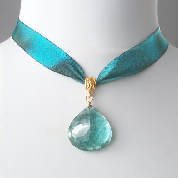 Green Amethyst Necklace with Silk Ribbon