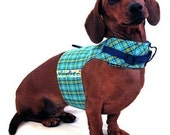 Eco Dog Harness - Renewable Blue Green Plaid Cotton - Small