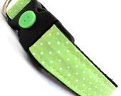 Eco Pet Collar - Renewable Lime Green Dot Cotton