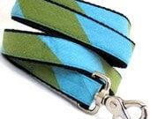 Eco Dog Leash - Repurposed Lime Aqua Stripe Cotton