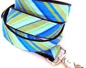Eco Dog Leash - Renewable Aqua Blue Stripe Cotton