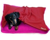 Eco Pet Bed - Recycled Pink Red Fleece
