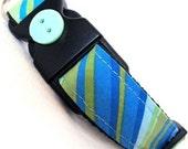 Eco Dog Collar - Renewable Aqua Green Stripe Cotton