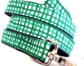 Eco Dog Leash - Renewable Green Plaid Cotton