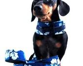 Eco Dog Harness - Renewable Hawaii Blue Cotton - Medium