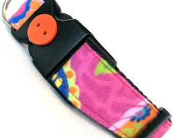 Eco Dog Collar - Renewable Pink Floral Cotton