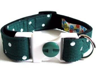 Eco Dog Collar - Renewable Green Dot Cotton