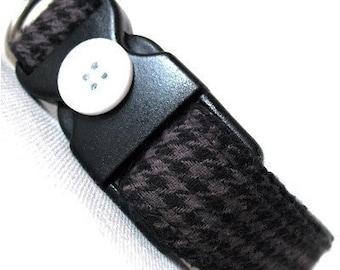 Eco Dog Collar - Renewable Grey Houndstooth Cotton