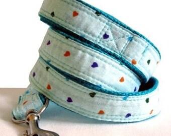 Eco Dog Leash - Renewable Blue Hearts Cotton