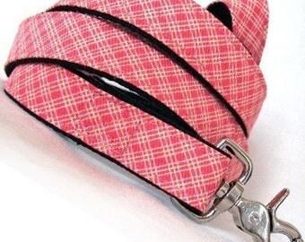 Eco Dog Leash - Renewable Pink Yellow Plaid Cotton
