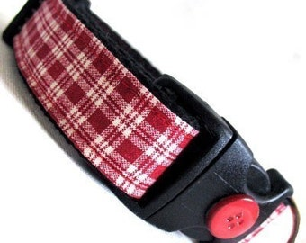 Eco Dog Collar - Renewable Red Plaid Cotton