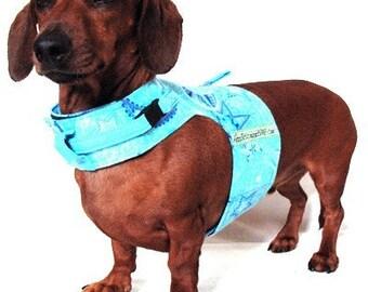 Eco Dog Harness - Renewable Blue Moons Stars Cotton - Small