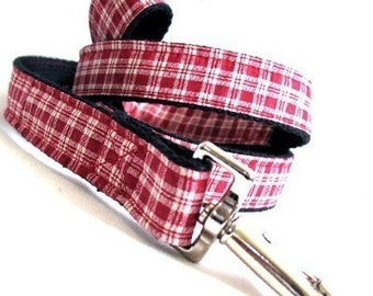 Eco Dog Leash - Renewable Red Plaid Cotton