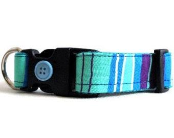 Eco Dog Collar - Renewable Aqua Blue Purple Stripe Cotton