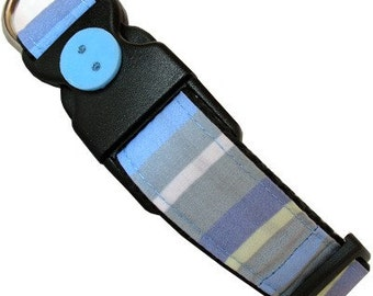 Eco Dog Collar - Blue Gray Stripe