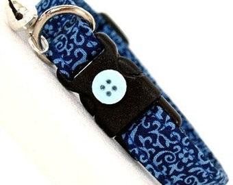 Eco Cat Collar - Renewable Blue Floral Cotton